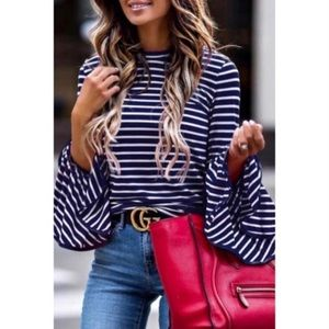 Striped Blue/White shirt with flowing sleeves